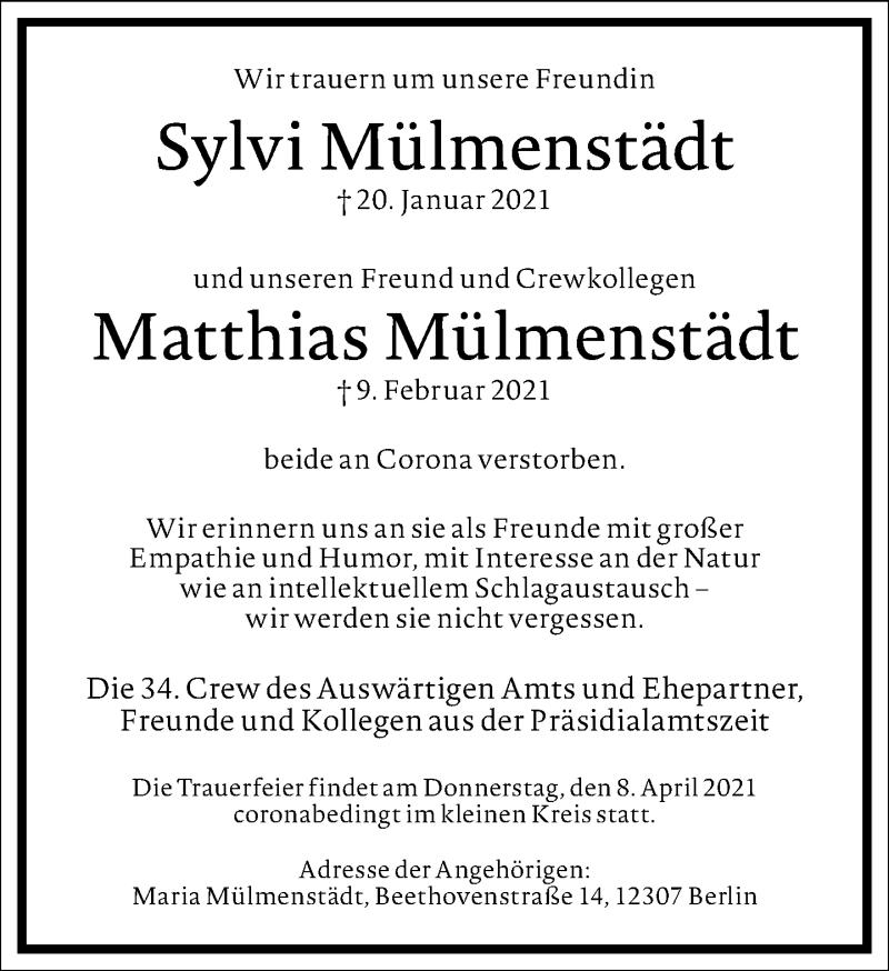 Traueranzeige für Matthias Mülmenstädt vom 27.02.2021 aus Frankfurter Allgemeine Zeitung