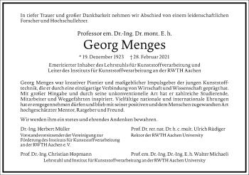 Traueranzeige von Georg Menges von Frankfurter Allgemeine Zeitung