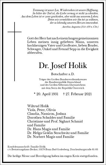 Traueranzeige von Josef Holik von Frankfurter Allgemeine Zeitung