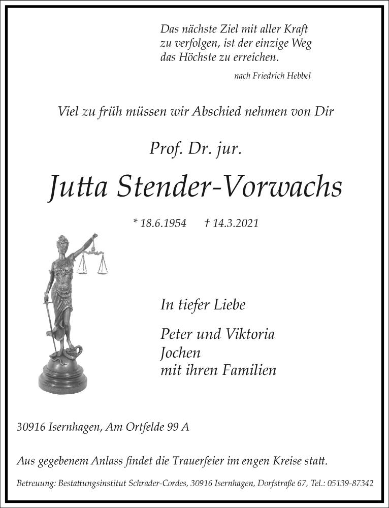 Traueranzeige für Jutta Stender-Vorwachs vom 20.03.2021 aus Frankfurter Allgemeine Zeitung