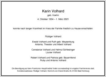 Traueranzeige von Karin Volhard von Frankfurter Allgemeine Zeitung