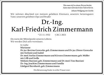 Traueranzeige von Karl-Friedrich Zimmermann von Frankfurter Allgemeine Zeitung
