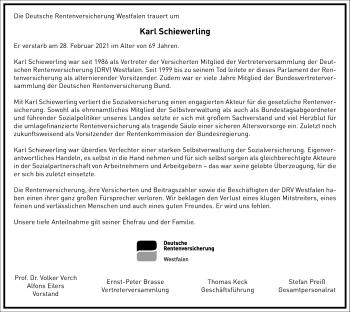Traueranzeige von Karl Schiewerling von Frankfurter Allgemeine Zeitung