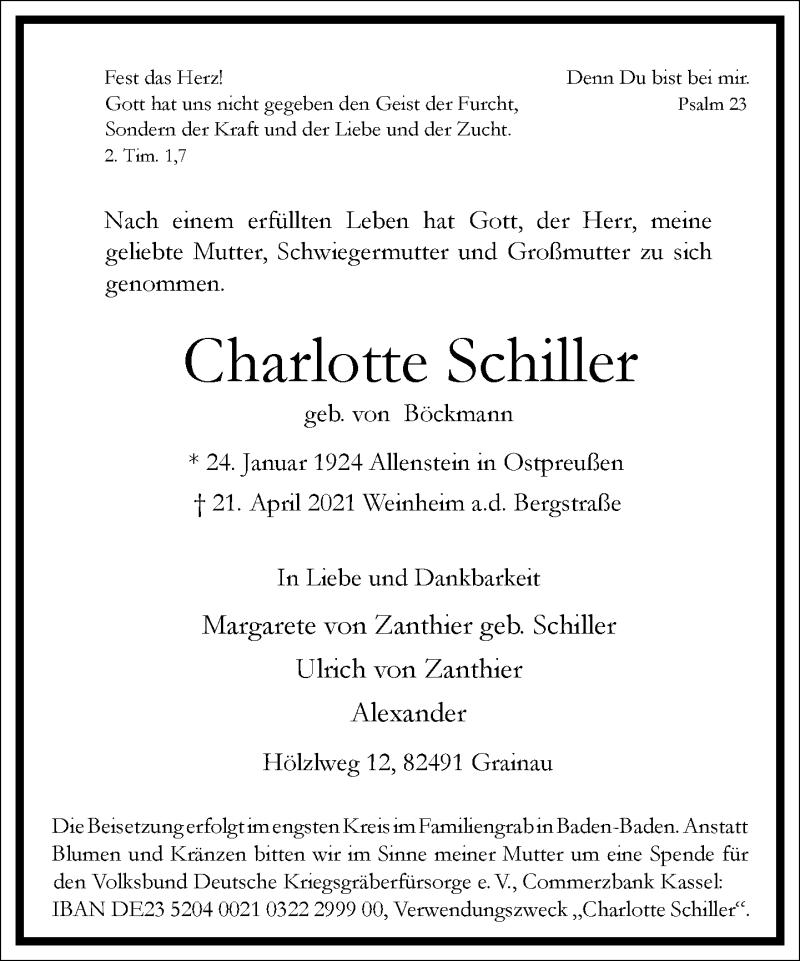 Traueranzeige für Charlotte Schiller vom 28.04.2021 aus Frankfurter Allgemeine Zeitung