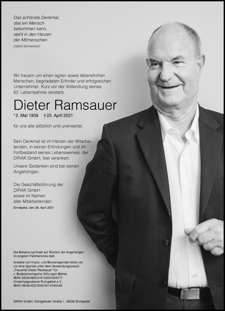 Traueranzeige für Dieter Ramsauer vom 30.04.2021 aus Frankfurter Allgemeine Zeitung