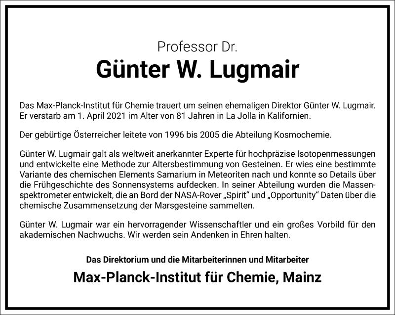 Traueranzeige für Günter W. Lugmair vom 17.04.2021 aus Frankfurter Allgemeine Zeitung