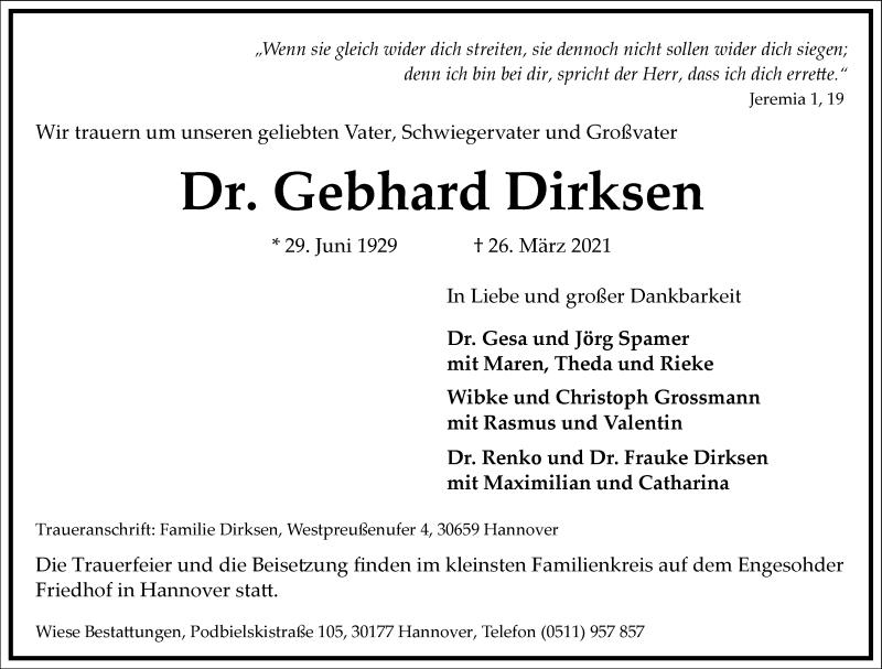 Traueranzeige für Gebhard Dirksen vom 03.04.2021 aus Frankfurter Allgemeine Zeitung