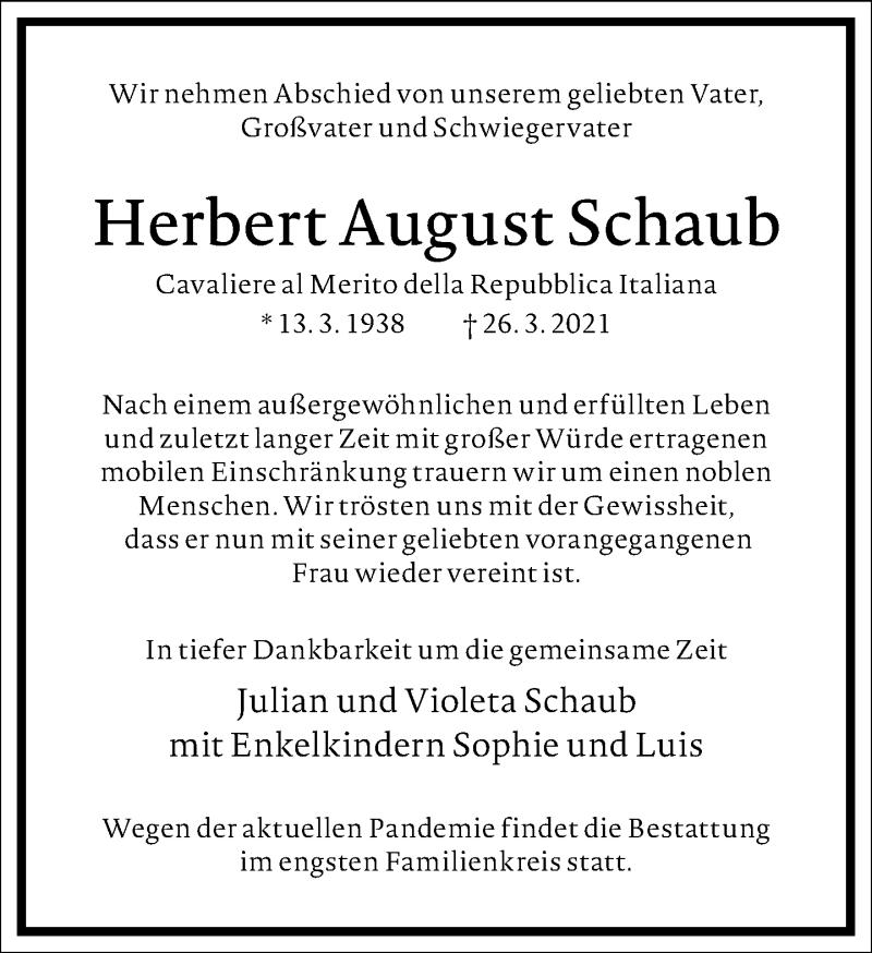 Traueranzeige für Herbert August Schaub vom 03.04.2021 aus Frankfurter Allgemeine Zeitung
