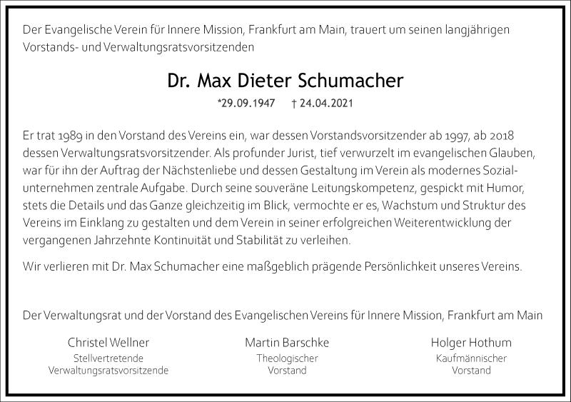 Traueranzeige für Max Dieter Schumacher vom 30.04.2021 aus Frankfurter Allgemeine Zeitung