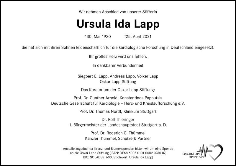 Traueranzeige für Ursula Ida Lapp vom 30.04.2021 aus Frankfurter Allgemeine Zeitung