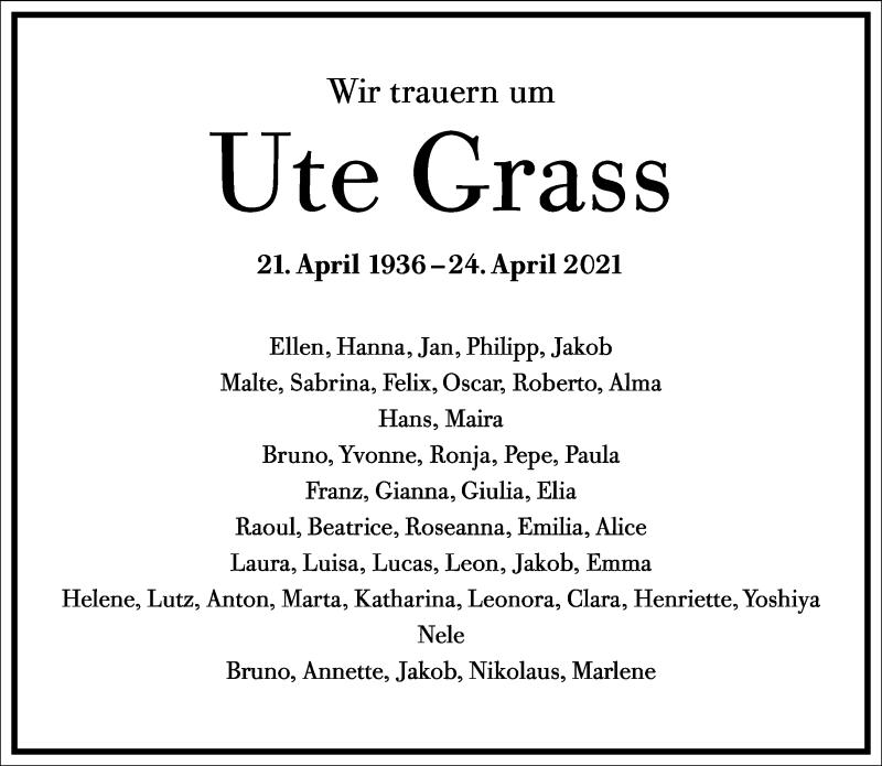 Traueranzeige für Ute Grass vom 30.04.2021 aus Frankfurter Allgemeine Zeitung