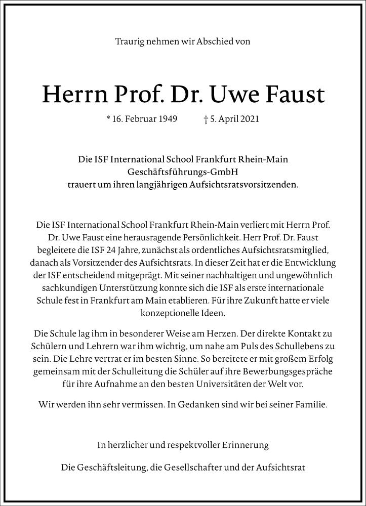 Traueranzeige für Uwe Faust vom 10.04.2021 aus Frankfurter Allgemeine Zeitung