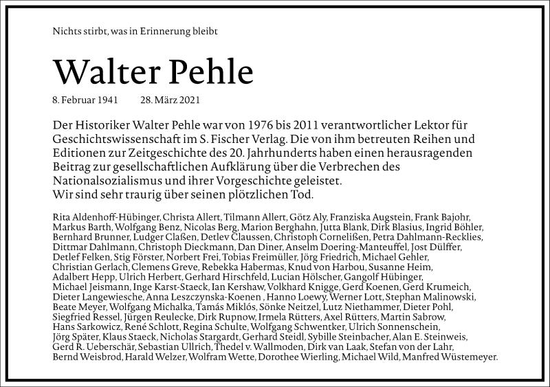 Traueranzeige für Walter H. Pehle vom 03.04.2021 aus Frankfurter Allgemeine Zeitung