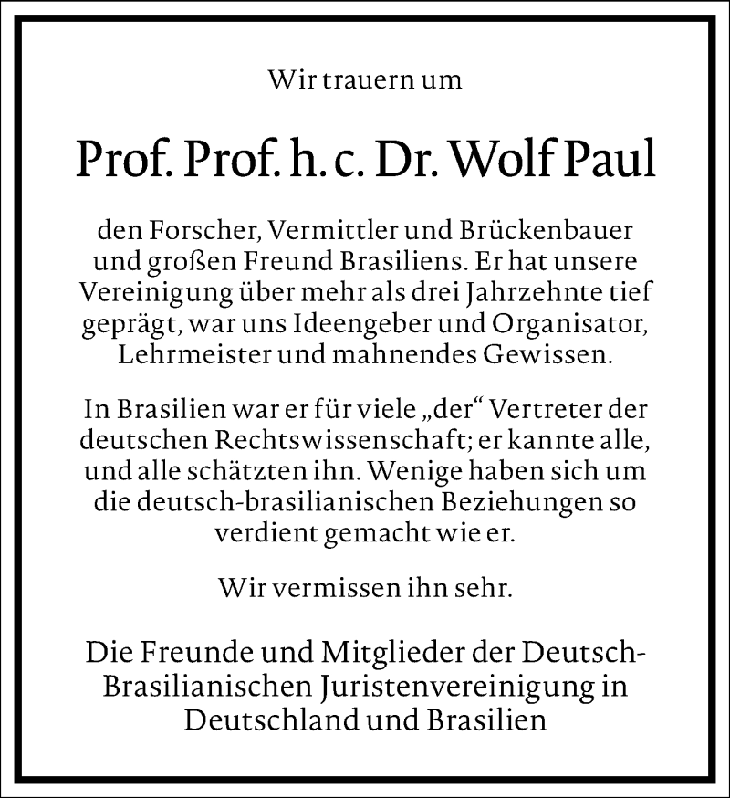 Traueranzeige für Wolf Paul vom 23.04.2021 aus Frankfurter Allgemeine Zeitung