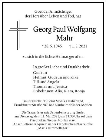 Traueranzeige von Georg Paul Wolfgang Mahr von Frankfurter Allgemeine Zeitung