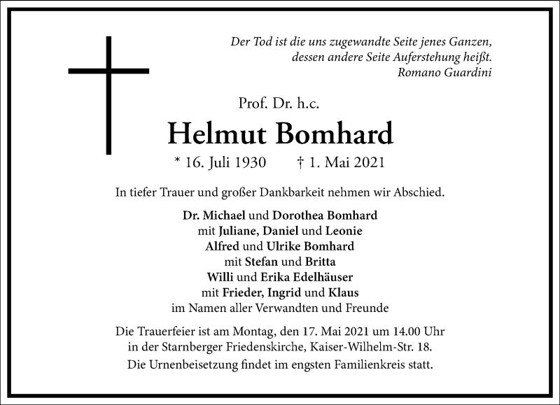 Traueranzeige für Helmut Bomhard vom 08.05.2021 aus Frankfurter Allgemeine Zeitung