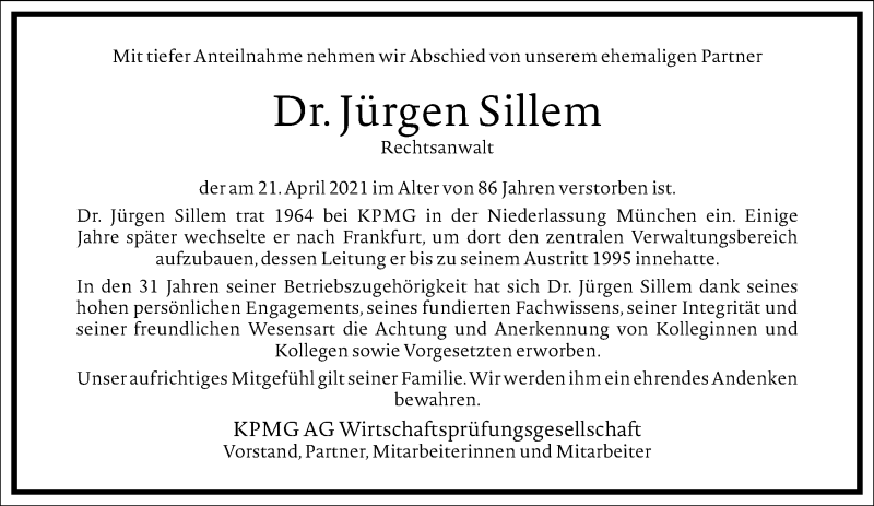 Traueranzeige für Jürgen Sillem vom 08.05.2021 aus Frankfurter Allgemeine Zeitung