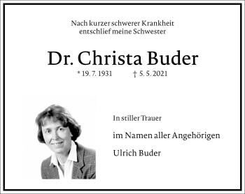 Traueranzeige von Christa Buder von Frankfurter Allgemeine Zeitung