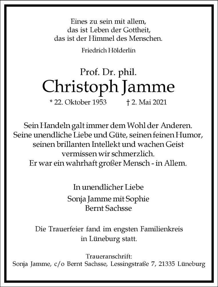 Traueranzeige für Christoph Jamme vom 15.05.2021 aus Frankfurter Allgemeine Zeitung