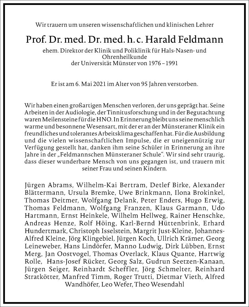 Traueranzeige für Harald Feldmann vom 29.05.2021 aus Frankfurter Allgemeine Zeitung