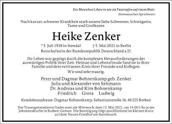 Traueranzeige von Heike Zenker von Frankfurter Allgemeine Zeitung