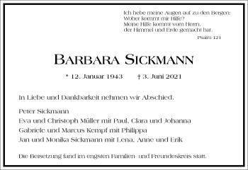 Traueranzeige von Barbara Sickmann von Frankfurter Allgemeine Zeitung