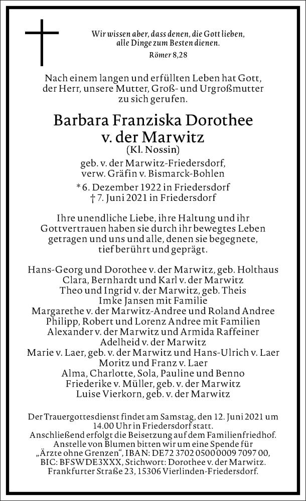 Traueranzeige für Barbara Franziska Dorothee v. der Marwitz vom 10.06.2021 aus Frankfurter Allgemeine Zeitung