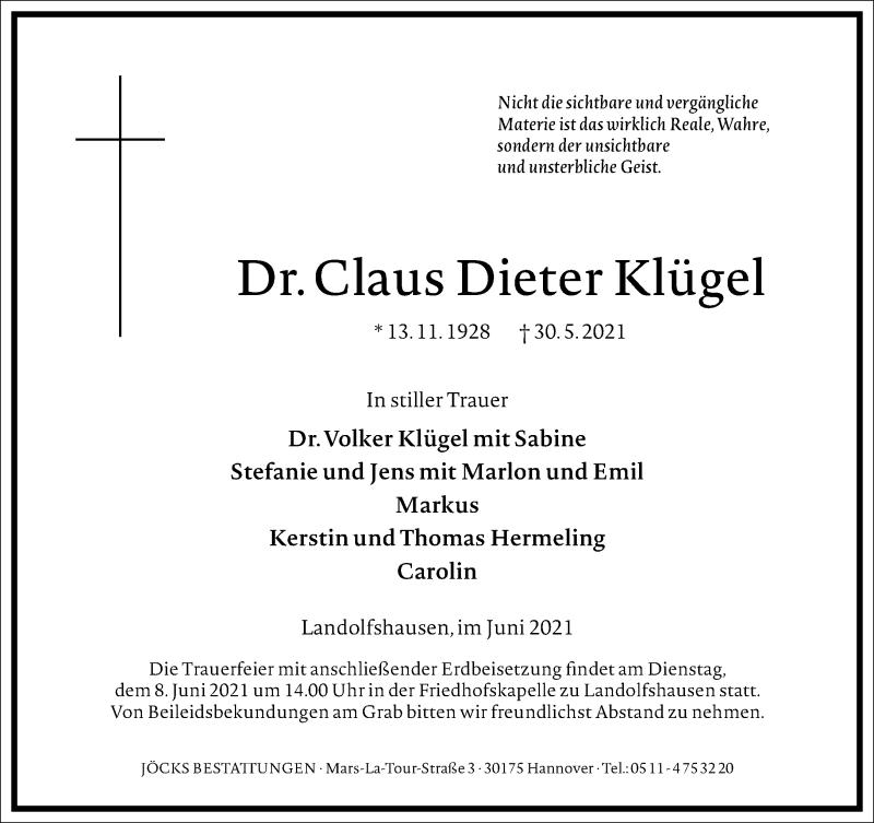Traueranzeige für Claus Dieter Klügel vom 05.06.2021 aus Frankfurter Allgemeine Zeitung