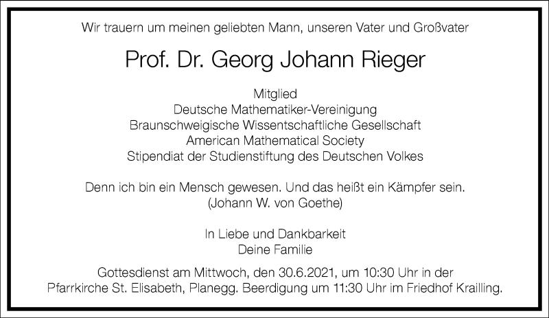 Traueranzeige für Georg Johann Rieger vom 26.06.2021 aus Frankfurter Allgemeine Zeitung