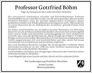 Traueranzeige von Gottfried Böhm von Frankfurter Allgemeine Zeitung
