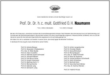Traueranzeige von Gottfried Naumann von Frankfurter Allgemeine Zeitung
