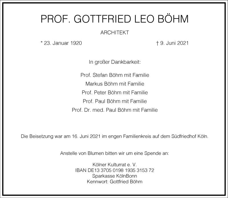 Traueranzeige für Gottfried Leo Böhm vom 19.06.2021 aus Frankfurter Allgemeine Zeitung