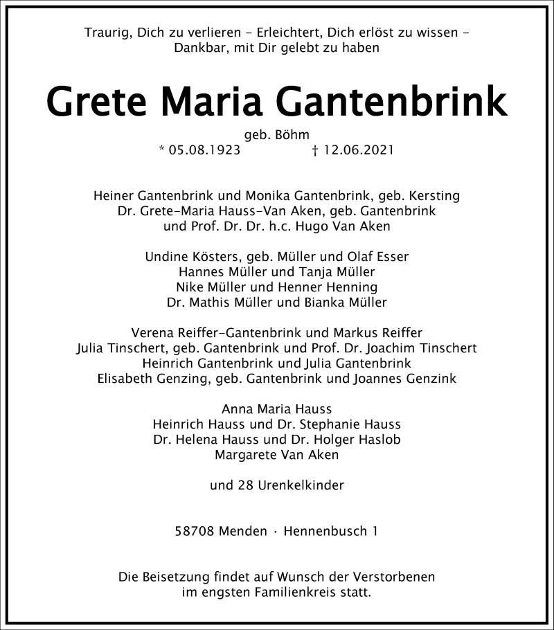 Traueranzeige für Grete Maria Gantenbrink vom 17.06.2021 aus Frankfurter Allgemeine Zeitung