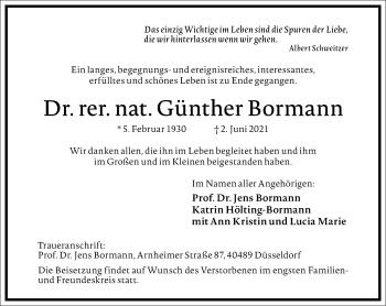 Traueranzeige von Günther Bormann von Frankfurter Allgemeine Zeitung