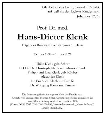 Traueranzeige von Hans-Dieter Klenk von Frankfurter Allgemeine Zeitung