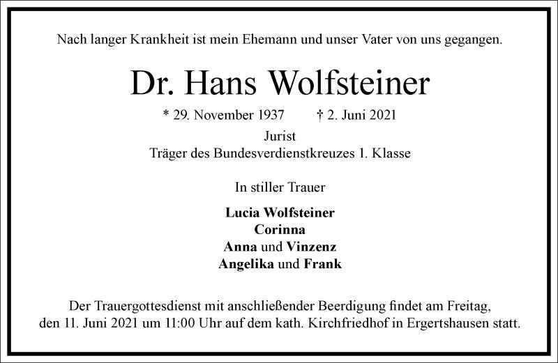 Traueranzeige für Hans Wolfsteiner vom 09.06.2021 aus Frankfurter Allgemeine Zeitung