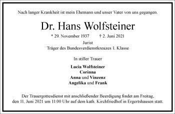 Traueranzeige von Hans Wolfsteiner von Frankfurter Allgemeine Zeitung