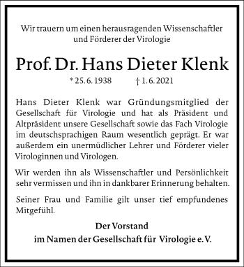 Traueranzeige von Hans Dieter Klenk von Frankfurter Allgemeine Zeitung