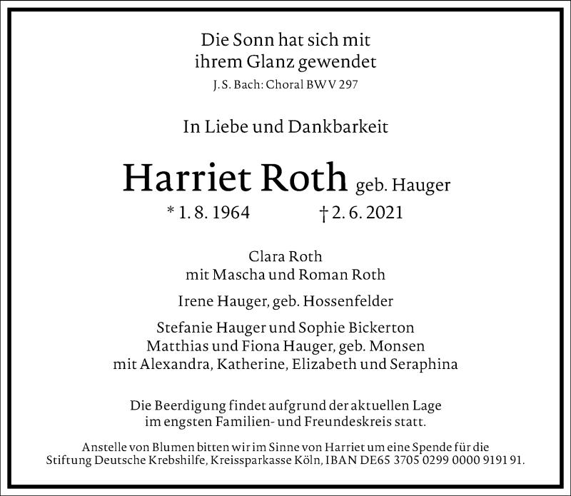 Traueranzeige für Harriet Roth vom 12.06.2021 aus Frankfurter Allgemeine Zeitung