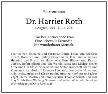 Traueranzeige von Harriet Roth von Frankfurter Allgemeine Zeitung