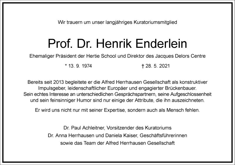 Traueranzeige für Henrik Enderlein vom 05.06.2021 aus Frankfurter Allgemeine Zeitung