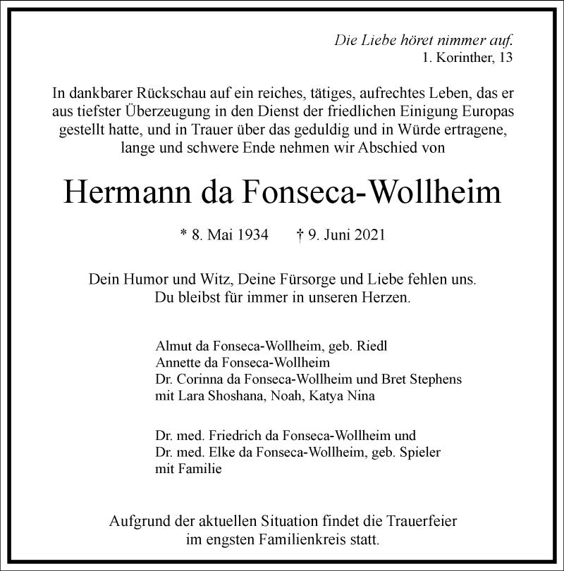 Traueranzeige für Hermann da Fonseca-Wollheim vom 19.06.2021 aus Frankfurter Allgemeine Zeitung