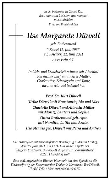 Traueranzeige von Ilse Margarete Düwell von Frankfurter Allgemeine Zeitung