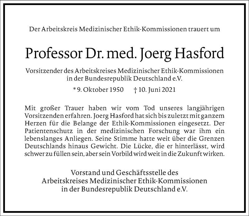 Traueranzeige für Joerg Hasford vom 15.06.2021 aus Frankfurter Allgemeine Zeitung