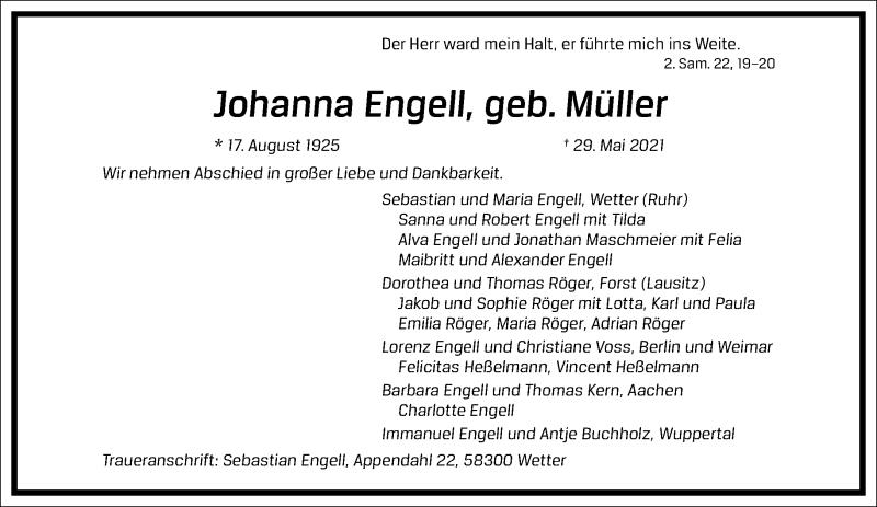 Traueranzeige für Johanna Engell vom 05.06.2021 aus Frankfurter Allgemeine Zeitung