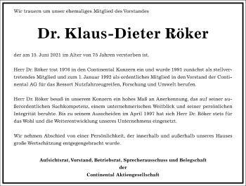 Traueranzeige von Klaus-Dieter Röker von Frankfurter Allgemeine Zeitung