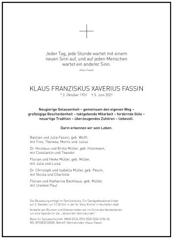 Traueranzeige von Klaus Franzikus Xaverius Fassin von Frankfurter Allgemeine Zeitung