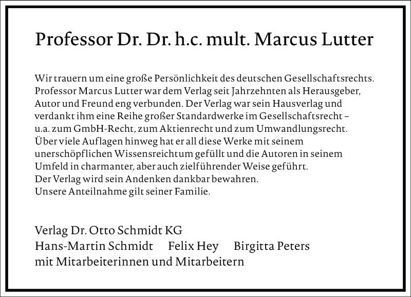 Traueranzeige für Marcus Lutter vom 26.06.2021 aus Frankfurter Allgemeine Zeitung