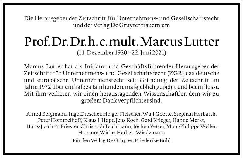 Traueranzeige für Marcus Lutter vom 03.07.2021 aus Frankfurter Allgemeine Zeitung
