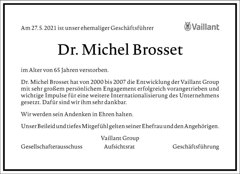 Traueranzeige für Michel Brosset vom 11.06.2021 aus Frankfurter Allgemeine Zeitung